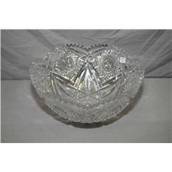 "Quality vintage large hand cut crystal bowl, 14 1/2"" in diameter and 6 1/2"" in height"