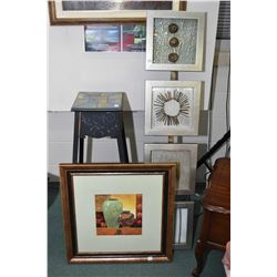 Selection of decor pieces including framed print of vases, four framed mounted object display and a