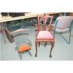 "Two doll's chairs including rocker and 33"" high chair"