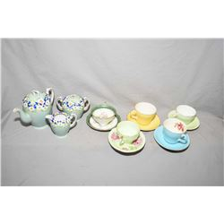Tray lot of china collectibles including Japanese hand painted tea set including tea pot, lidded sug