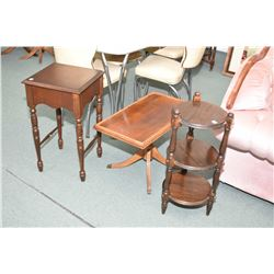 Three assorted occasional tables including a semi-contemporary three tier what not, mid 20th matched