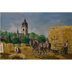 "Framed oil on canvas painting of a rural harvest scene, signed by artist and dated 1946, 23"" X 35"""