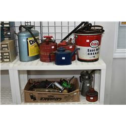 Selection of oil and gas collectibles including Esso grease bucket with pump, compressed air sprayer