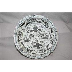 "Large blue and white duck pond charger, purportedly 18th century, 16"" in diameter"