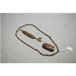 "An Asian ""Red Hill"" culture archaistic jade stone pendant and Sino-tibetan nine eyes Dzi bead neckla"