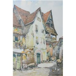 "Framed European watercolour of a street scene signed by artist Marc, 12"" X 8"""