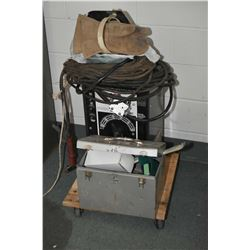 Sears 295 Amp arc welder with long cable, helmet and gloves plus a metal tool box with propane torch