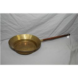 Large brass pan with extended wooden handle see stamp including date 1892