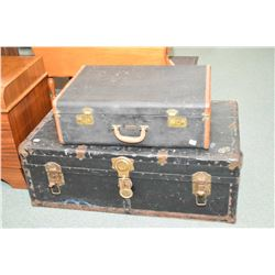Vintage metal steamer trunk and a Dominion Luggage suitcase