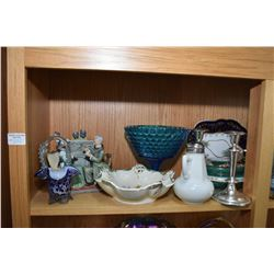 Shelf lot of collectibles including large lidded box, silver plate tea pot and jug, milk glass syrup