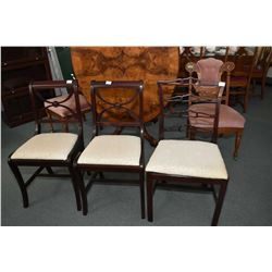 Three mid 20th century side chairs, two of one style and a mismatched, all with matching upholstery