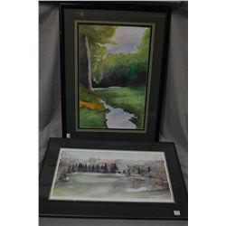 Framed original watercolour painting of a wooded creek scene signed by artist R '03 (?) and a framed