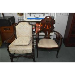 Two mismatched antique parlour chairs including open arm upholstered parlour chair and a neoclassica