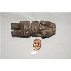 "Collection of two central Asian ""Red Hill"" cultured stone figures, purportedly Warring period or ear"