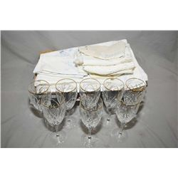 Selection of vintage linens including cut work table cloth and napkins, damask tablecloths and napki