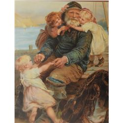 Two framed prints including Fisherman with friends and a lady relaxing in a hammock