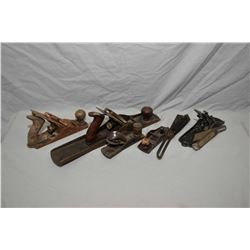 Selection of wood planes including Stanley and two Stanley angle finders
