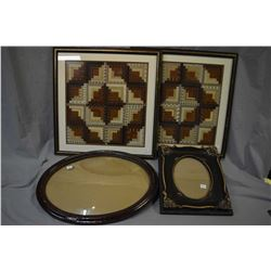 "Two framed geometric designed needlework, 22"" square overall dimensions plus a vintage framed and a"