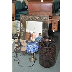 Selection of modern decor items including a leaded shade table lamp, mounted butterflies, elephant a