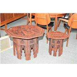 Two Asian tables with decorative scenes