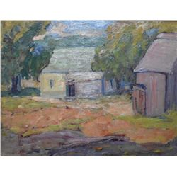 "Framed oil on board painting marked on verso ""Summer Landscape with Barn"" signed by Canadian artist"