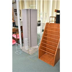 MIni rotating slat back display unit and a wooden tissue paper holder display, blister pack rotating