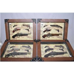 Four framed shadowboxed replica antique gun collages