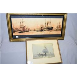"Vintage framed print entitled ""Above Greenwich"" by British artist Charles Dixon and framed print ""Th"