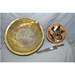 "Large 19"" diameter hand hammered basin a Haida box and a hand crafted knife with copper handle"