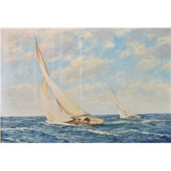 "Framed oil on canvas painting of a sailing ship signed by artist M.G. Friedrich, 24"" X 36"""