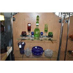 Large selection of quality crystal, most is coloured cut to clear including center bowl, vase, decan