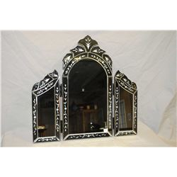 Decorative glass table mirror with hinged side mirrors