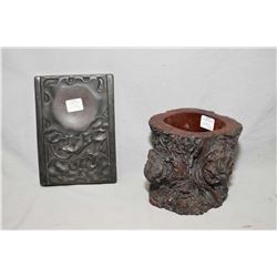 Root wood carved brush pot, and a ink stone