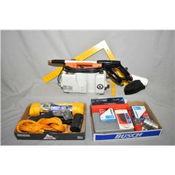 Selection of tools including air die grinder, angle drill, callipers, staplers, squares, bearing and