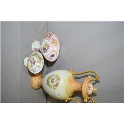 "Three pieces of antique porcelain including a 17 1/2"" bird motif lidded urn, note handle repair, plu"