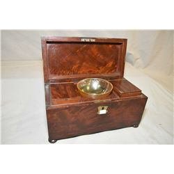 Antique fitted Georgian mahogany tea caddy circa early 1800's