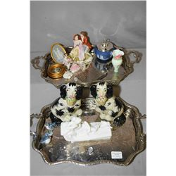 Two matching silver plate trays and contents including small Bristol glass vase, Dresden figurines,