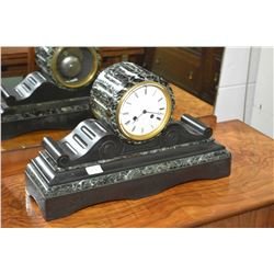 Antique slate chiming mantle clock with porcelain dial and Roman numerals, working at time of catalo
