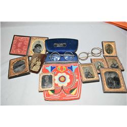 Selection of antique daguerreotypes, two pairs of eye glasses and a beaded pouch