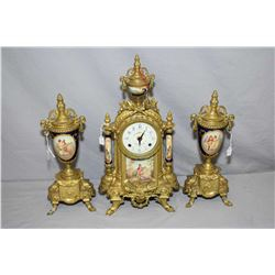 Antique French mercury gilded mantle clock with love story panels, trying to work but needs attentio