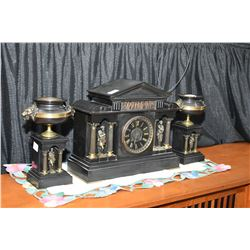 Antique slate chiming mantle clock with slate dial and engraved and painted Roman numerals decorated
