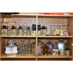 Two shelf lots of collectibles including stoneware Mead bottles, cast mantle top picture frames, sma