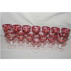 Selection of antique ruby flash etched to clear stemware including eight champagne, seven wine goble