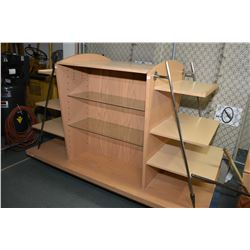 Large freestanding retail display unit, wood with metal accents