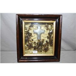 "Victorian shadowbox mourning hair wreath with hand engraved cross ""Victoria Boegel died September 23"