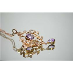 Antique 9kt yellow gold, amethyst and seed pearl lavaliere / brooch set with 2.60ct of genuine natur