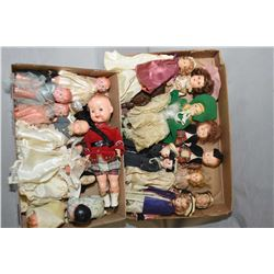 Two tray lots of dolls including vintage hard plastic and celluloid dolls