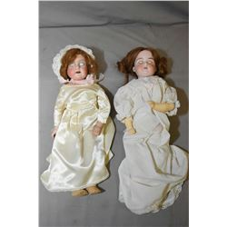 Two antique bisque head dolls with sleep eyes including A.M 370 with leather body and repainted comp