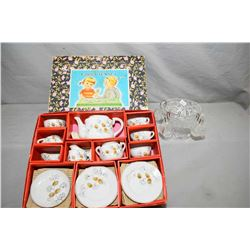 Boxed child's china tea set and a glass dolly's punch bowl with four punch cups