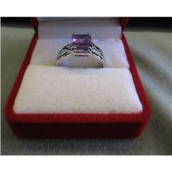 RING -EMERALD FACETED PURPLE AMETHYST & 2 DIAMONDS IN STERLING SILVER SETTING - ESTIMATED RETAIL $45